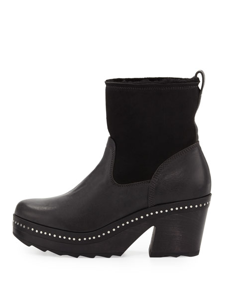 Nelson Fur-Lined Clog Boot, Black