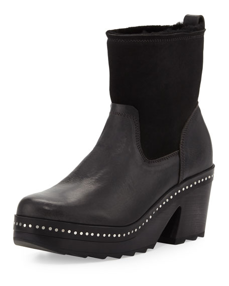 Rag & Bone Nelson Fur-Lined Clog Boot, Black
