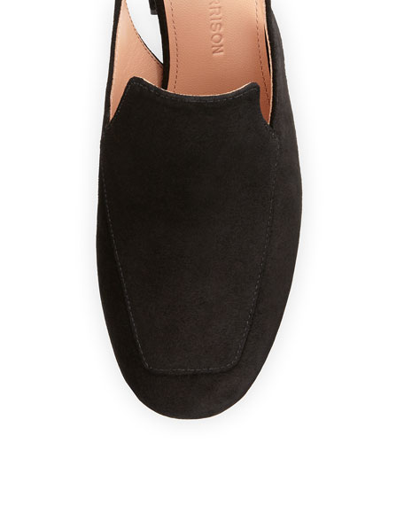 Posie Suede Ankle-Wrap Loafer Pump, Black