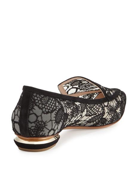 Beya Lace Point-Toe Loafer, Black