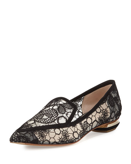 Beya Lace Point-Toe Loafer, Black