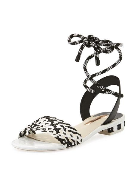 Nia Woven Ankle-Wrap Sandal, Black/White