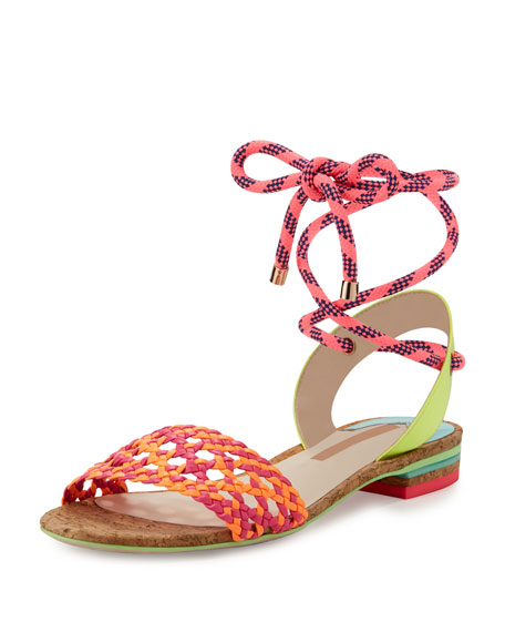 Nia Woven Ankle-Wrap Sandal, Fluorescent Orange/Magenta