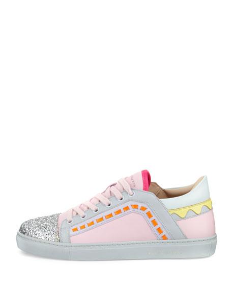 Riko Glitter Cap-Toe Sneaker, Pink