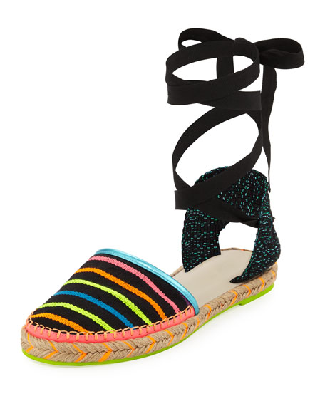 Sophia Webster Juana Ribbon Stripe Espadrille, Black