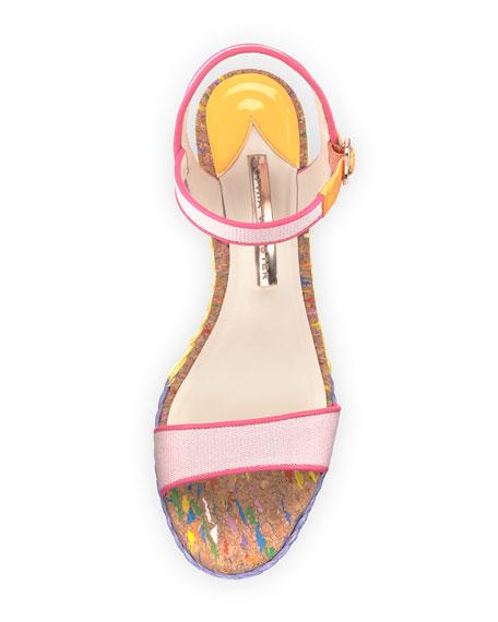 Lucita Striped Wedge Sandal, Pastel Pink