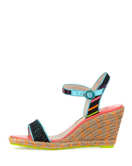 Lucita Striped Wedge Sandal, Black