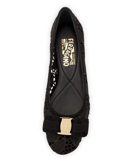 Varina Lace Bow Ballerina Flat, Black (Nero)