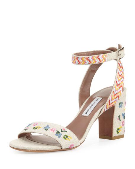 Leticia Embroidered Block-Heel Sandal