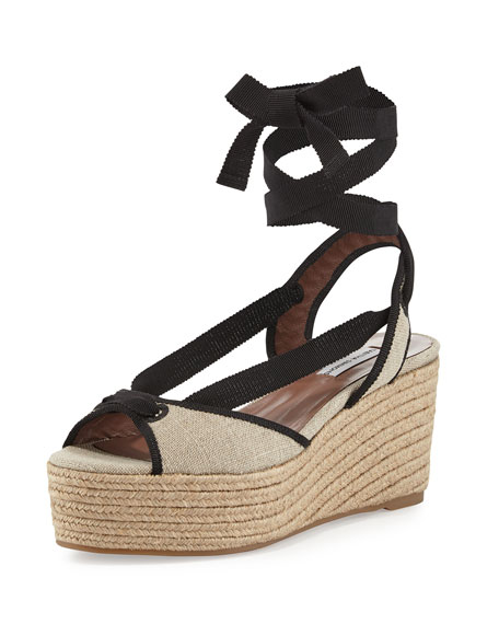 Tabitha Simmons Logan Canvas Ankle-Wrap Espadrille, Natural