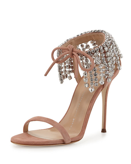 Mistico Crystal Ankle-Wrap 105mm Sandal, Candy
