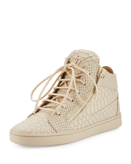 Python-Embossed Leather High-Top Sneaker, Beige