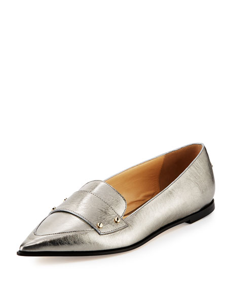 Jimmy Choo Gia Metallic Leather Loafer, Vintage Silver