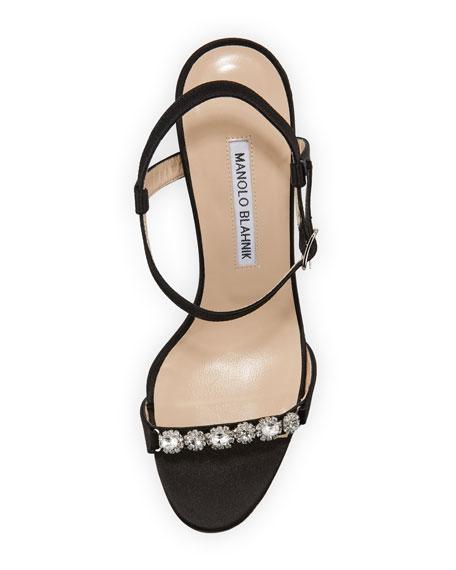 Priscaba Jeweled Satin Sandal, Black