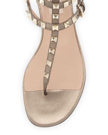 Rockstud Flat Leather Thong Sandal, Sasso