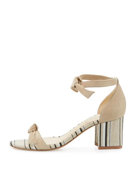 Clarita Suede & Striped Block-Heel Sandal, Balm/Natural
