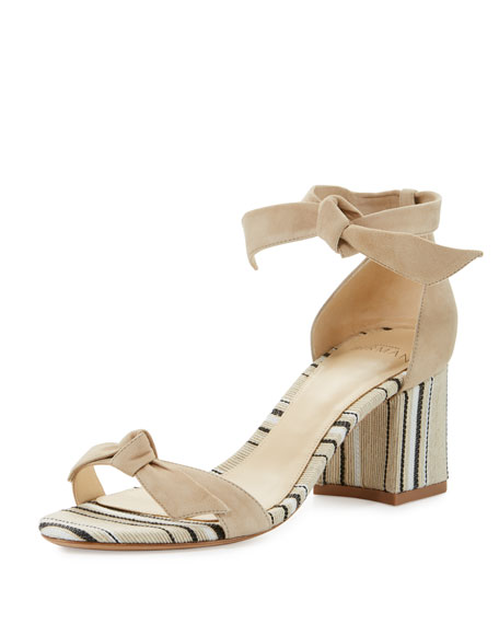 Clarita Suede & Striped Block-Heel Sandals, Balm/Natural