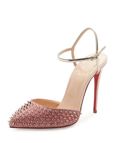 Christian Louboutin Baila Spike Red Sole Pump, Poudre/Bronze