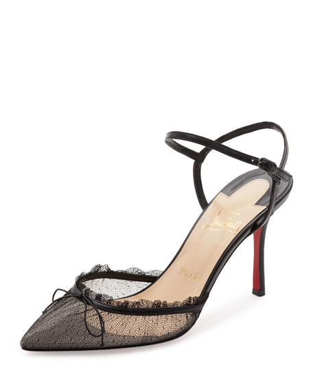 Travalata Lace Ankle-Strap Red Sole Pump, Black