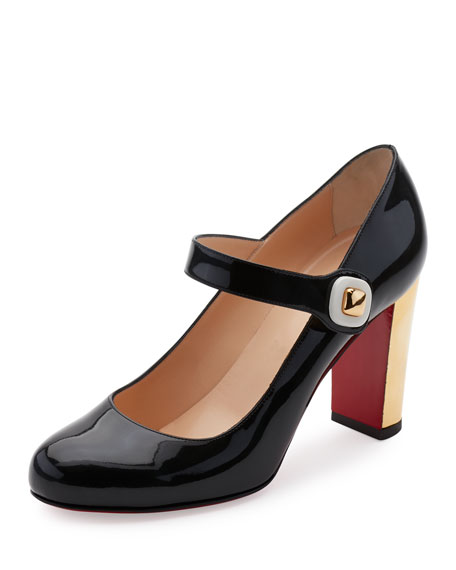 Christian Louboutin Bibaba Patent Red Sole Pump, Black
