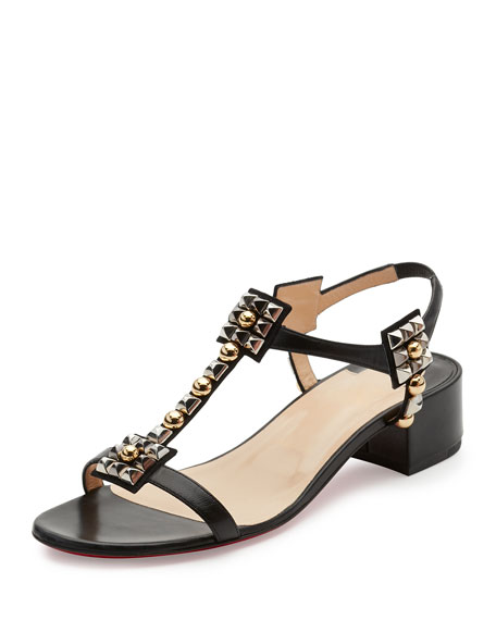Kaleidra Spike T-Strap Red Sole Sandal, Version Black