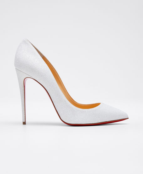 Pigalle Follies Glittered Red Sole Pump, White