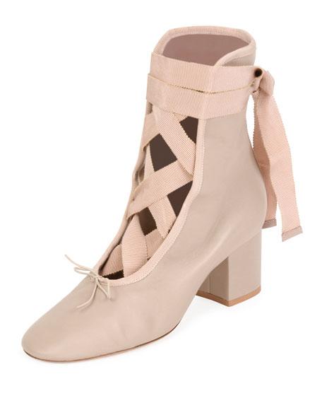 Ballet Napa Leather Lace-Up Bootie, Powder (Poudre)