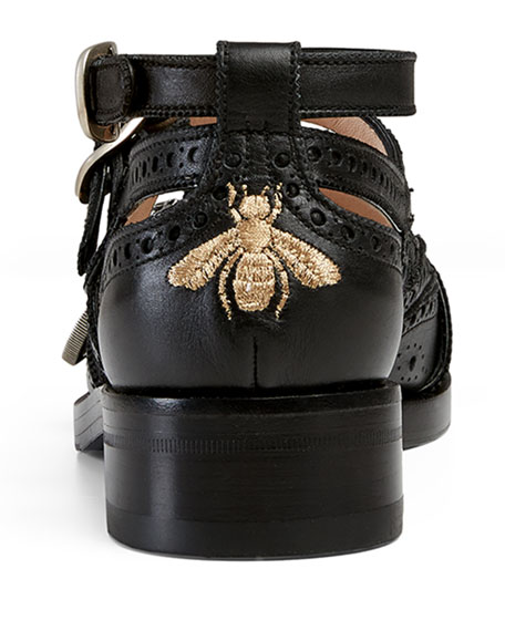 Cutout Brogue Leather Flat, Black