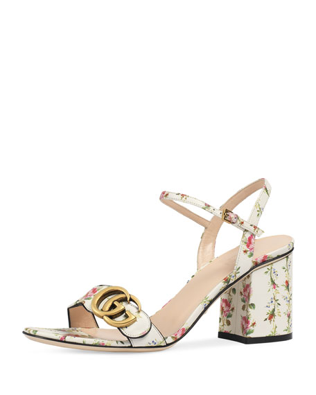 Image 1 of 1: Marmont Rose 75mm Sandal, Floral/White
