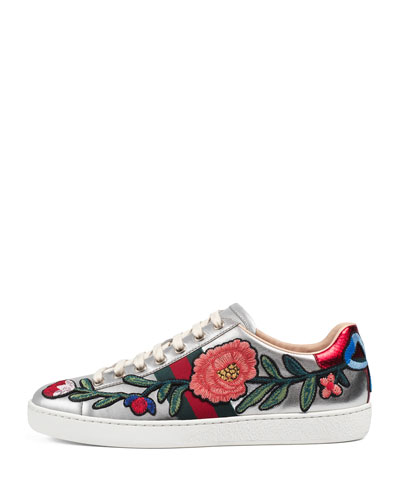 GUCCI New Ace Floral-Embroidered Low-Top Sneaker, White/Multi, Multi Colors