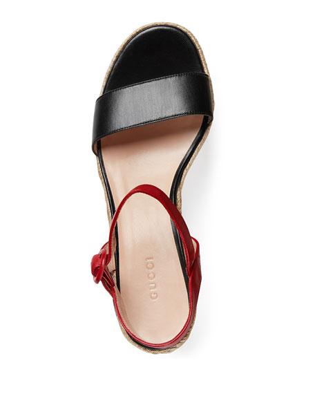 7d73e950949ac Gucci Barbette Snake-Appliqué Espadrille Wedge Sandal