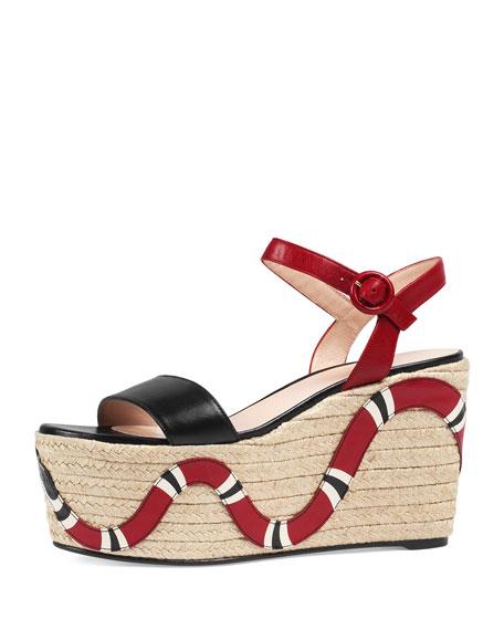 b72d05e3ae2e Gucci Barbette Snake-Appliqué Espadrille Wedge Sandal