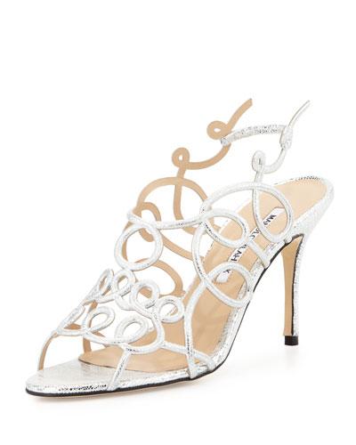 Gori Metallic Swirly Suede Sandal, Silver