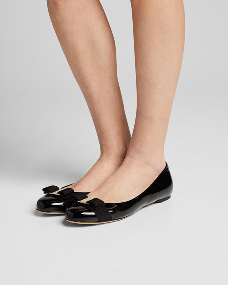 Patent Bow Ballet Flats, Nero