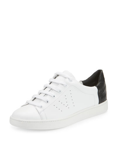 Varin Leather Low-Top Sneaker, White/Black