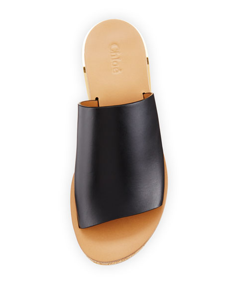 Leather Platform Sandal Slide, Black