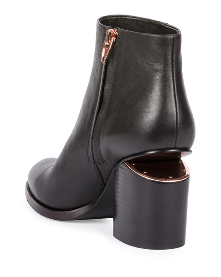 Gabi Tilt-Heel Leather Boots, Black