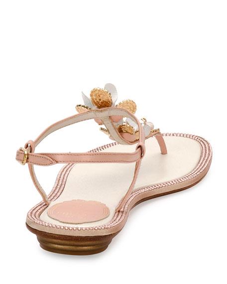 3e8977358a1f55 Rene Caovilla Floral-Embellished Crystal Flat Thong Sandals
