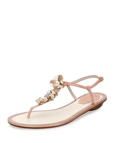 b8d184afbcb6 Rene Caovilla Floral-Embellished Crystal Flat Thong Sandals