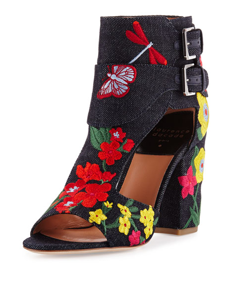Rush Embroidered Denim Bootie, Navy