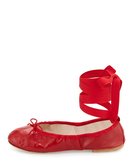 Street Ballet Leather Ankle-Wrap Flats