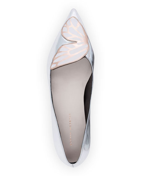 Bibi Butterfly-Embroirdered Point-Toe Skimmer, Silver/Rose Gold