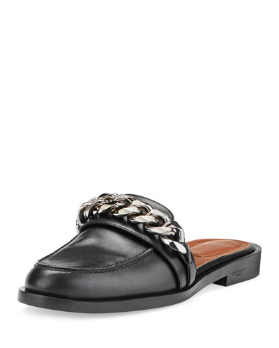 Chain Leather Loafer Mule, Black