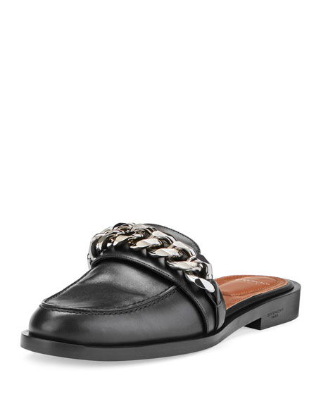 GIVENCHY Chain-Embellished Leather Loafers, Black
