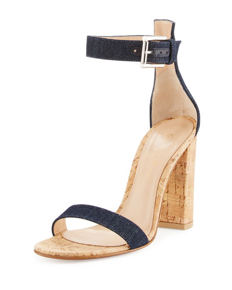 Portofino Denim & Cork 100mm Sandal, Blue