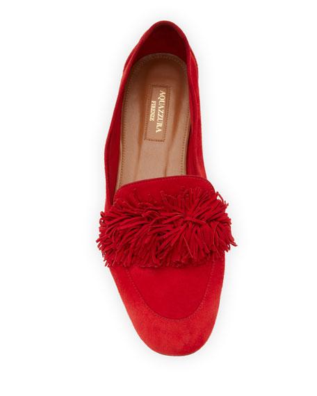 Wild Suede Fringe Loafer Flat, Red