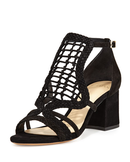 Alexandre Birman Anna Crocheted Leather Block-Heel Sandal, Black
