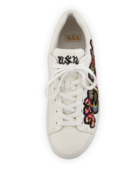 Nak Bis Embroidered Leather Sneaker, White/Red