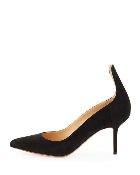 High-Back Suede 75mm Pump, Black
