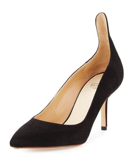 Francesco Russo High-Back Suede 75mm Pump, Black